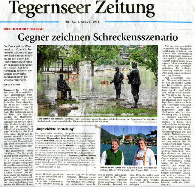 Tegernseer Zeitung vom 02.08.2013